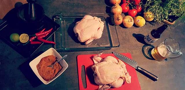 Helgrillad kyckling förberedelser